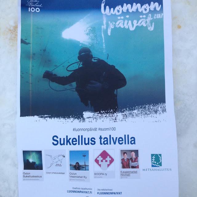 Kuva posterista, jossa mainostetaan luonnon päivät 2017 -tapahtumaan Sukellus talvella
