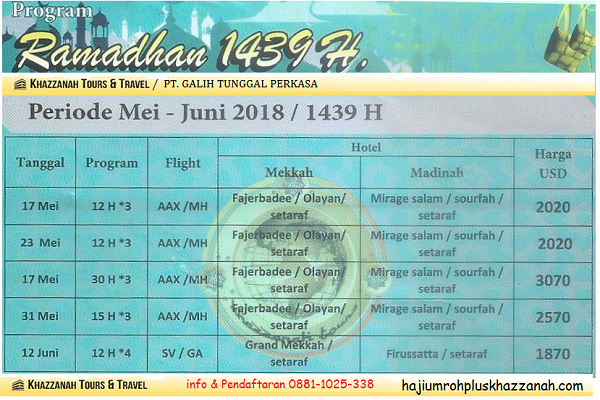 Program Paket Umroh Ramadhan Khazzanah Tour & Travel