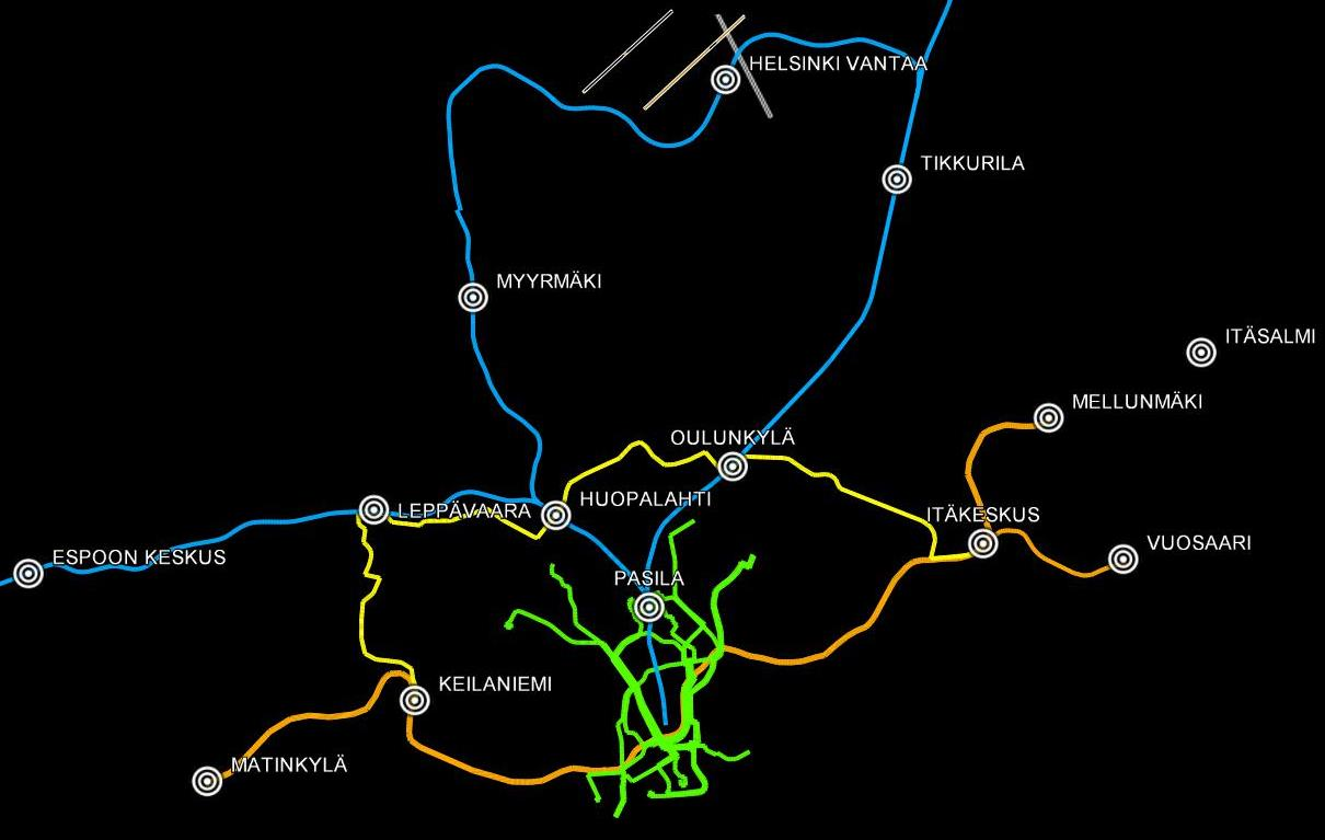 Kuvassa näkyvät vihreällä värillä Helsingin nykyiset raitiotielinjat. Metro  on jo piirretty Matinkylään saakka oranssilla värillä a46a4f0b73