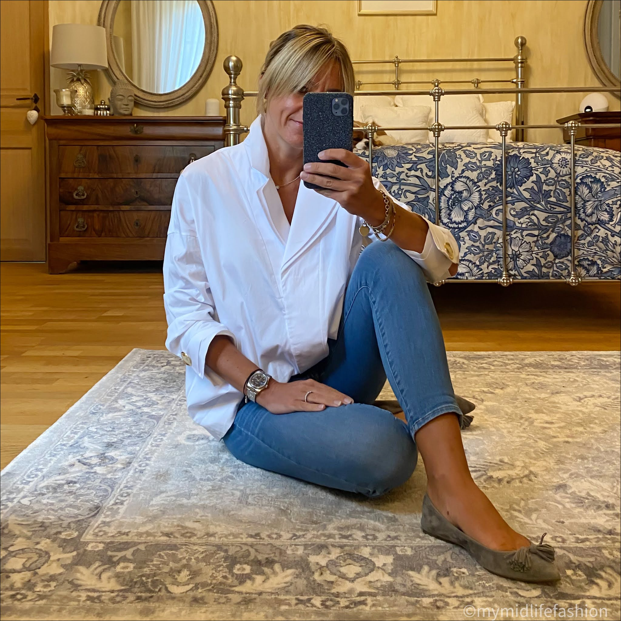 my midlife fashion, uterque oversized single breasted white shirt, j crew 8 inch toothpick jeans, j crew suede tassel ballet flats