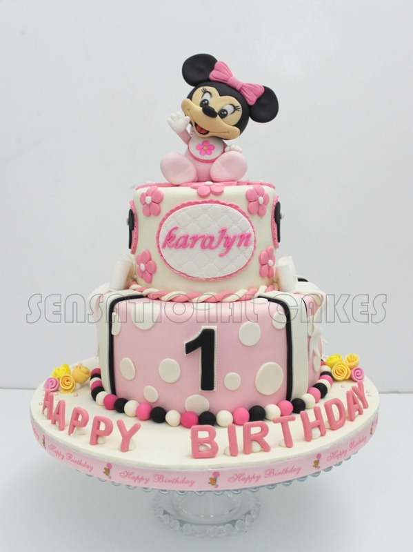 Baby Minnie Mouse Cake 2 Tiers Singapore Pinky Version Christening 1st Month Birthday Year