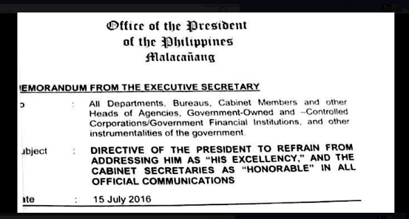"LOOK: Duterte issues memo to drop ""His Excellency"""