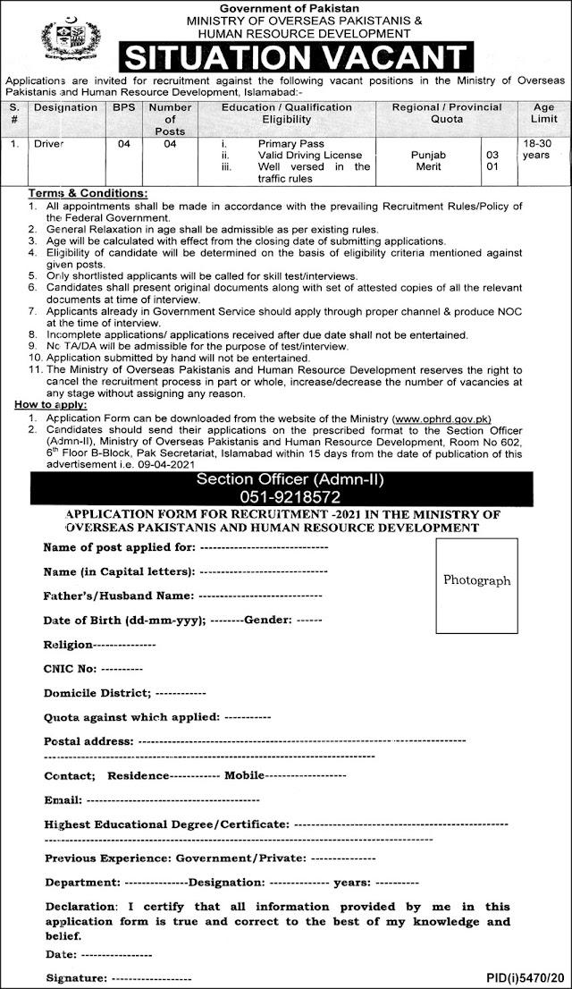 Ministry of Overseas Pakistanis & Human Resource Development Jobs 2021