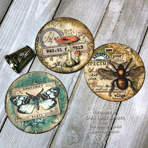 Sara Emily Barker https://sarascloset1.blogspot.com/2020/03/artist-trading-coins-with-tim-holtz.html ATC's Field Notes Distress Embossing Glazes 1