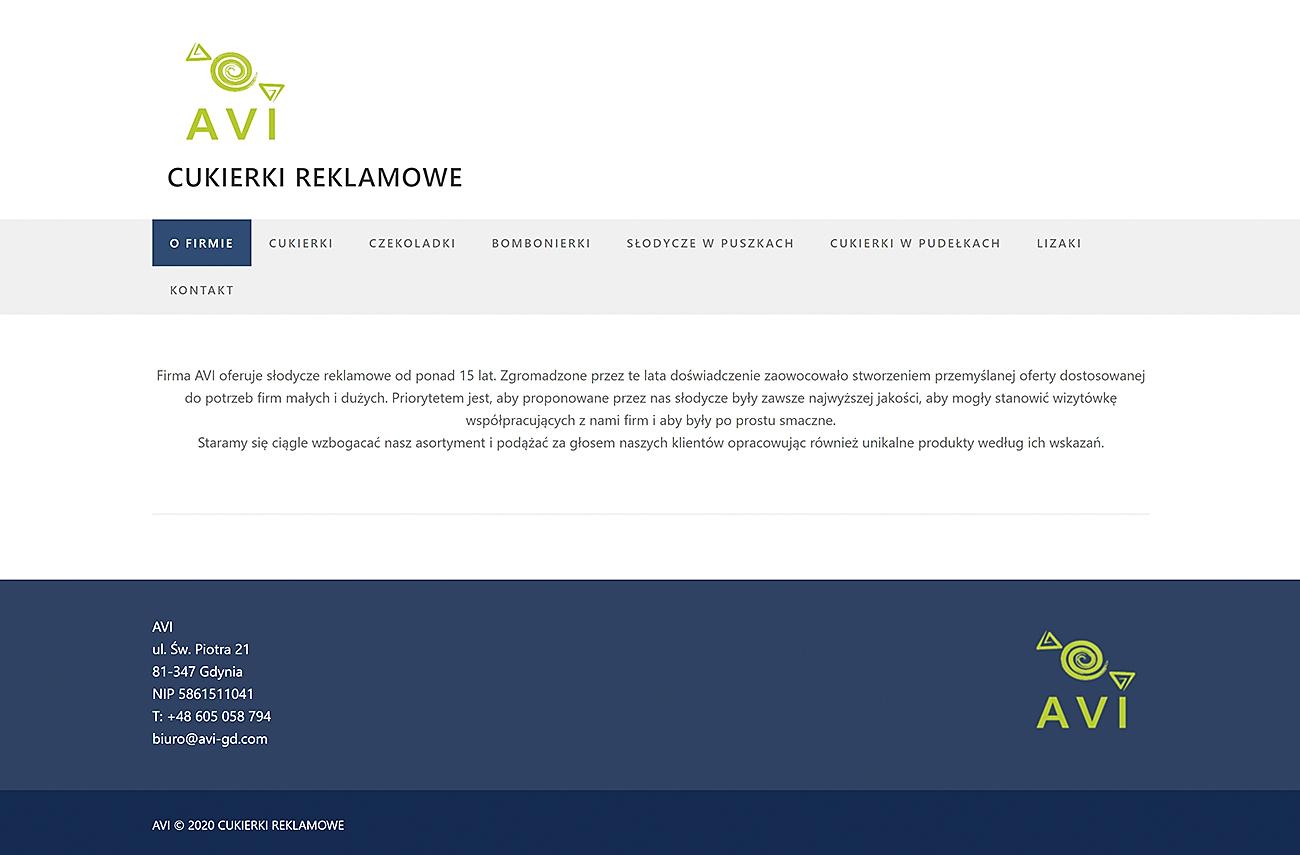 Witryna internetowa AVI Cukierki Reklamowe