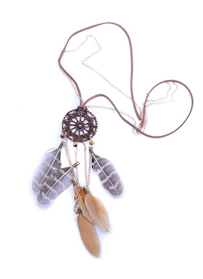 Boho Hippie Dream catcher Necklace - $4.99 - Affordable Springtime Bohemian Fashion {Pastel Bohemian, Springtime Boho Fashion and Accessories, Bohemian Easter}