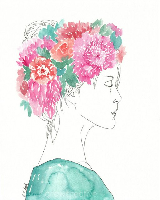 Watercolor Flower Girl Paintings Series by Elise Engh