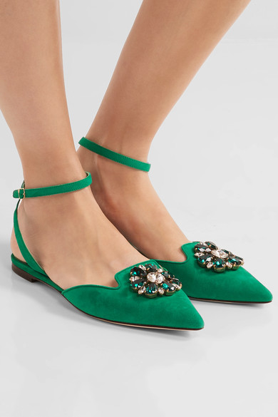 Dolce & Gabbana Bellucci Crystal Embellished Suede Point Toe Flats