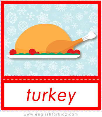 Christmas turkey - printable Christmas food flashcards