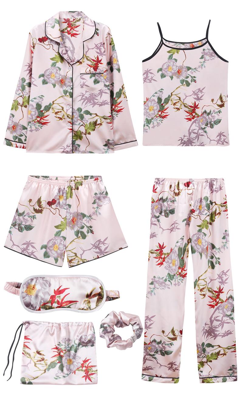 Bộ Pijama ngủ 7 chi tiết bằng lụa mặc nhà dễ thương 8