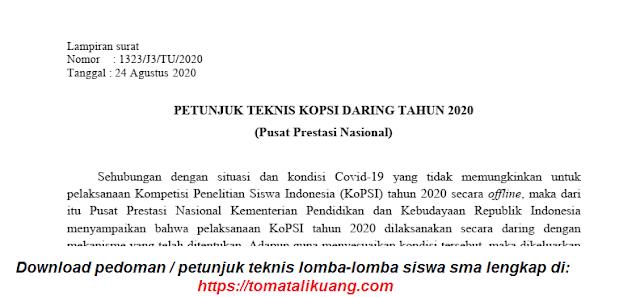 Download Petunjuk Teknis KoPSI SMA 2020 Secara Daring / Online PDF