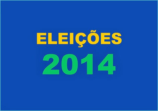 A imagem de fundo nas cores do Brasil diz: eleições 2014.