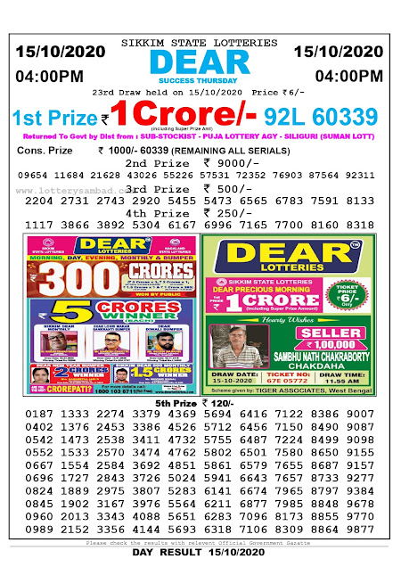 Sikkim State Lottery Result 15-10-2020, Sambad Lottery, Lottery Sambad Result 4 pm, Lottery Sambad Today Result 4 00 pm, Lottery Sambad Old Result