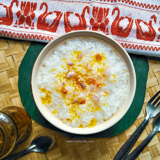 Poita bhat is fermented rice. The leftover cooked rice is soaked in water for overnight for fermentation. The next day it is served in  breakfast.