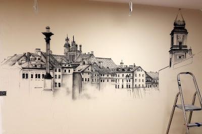 Malowanie obrazu na scianie, warszawska starówka, plac Zygmunta przed wojną, Zabytkowa Warszawa, obraz namalowany na ścianie