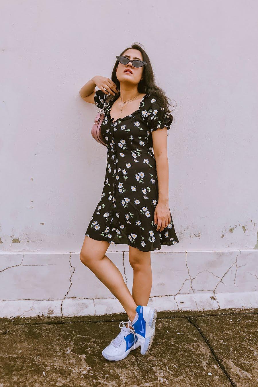 zara floral dress, floral midi dress, black flowery dress