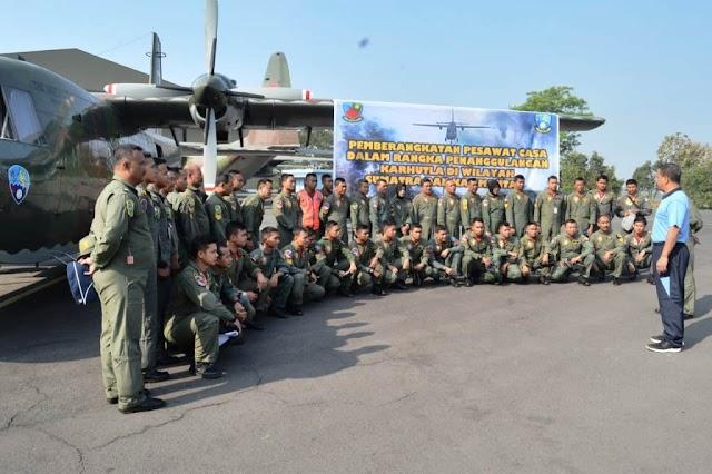 Danlanud Abdulrachman Saleh Lepas Pesawat Cassa untuk TMC Ke Pontianak