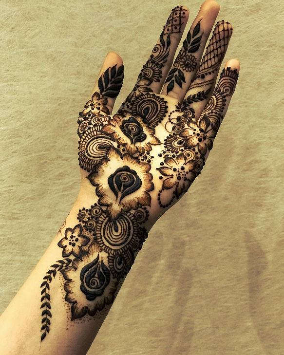Shaded Mehndi Design front hand