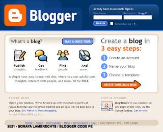 Se connecter à Blogger en 2004
