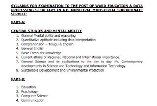 AP Ward Sachivalayam Education & Data Processing Secretary Jobs Exam Pattern and Syllabus