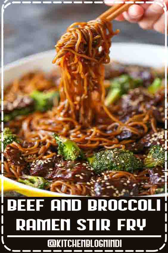 4.8 ★★★★   Everyone's favorite beef and broccoli turned into the easiest stir fry noodles EVER! It's even better as leftovers! #Beef #Broccoli #Ramen #StirFry