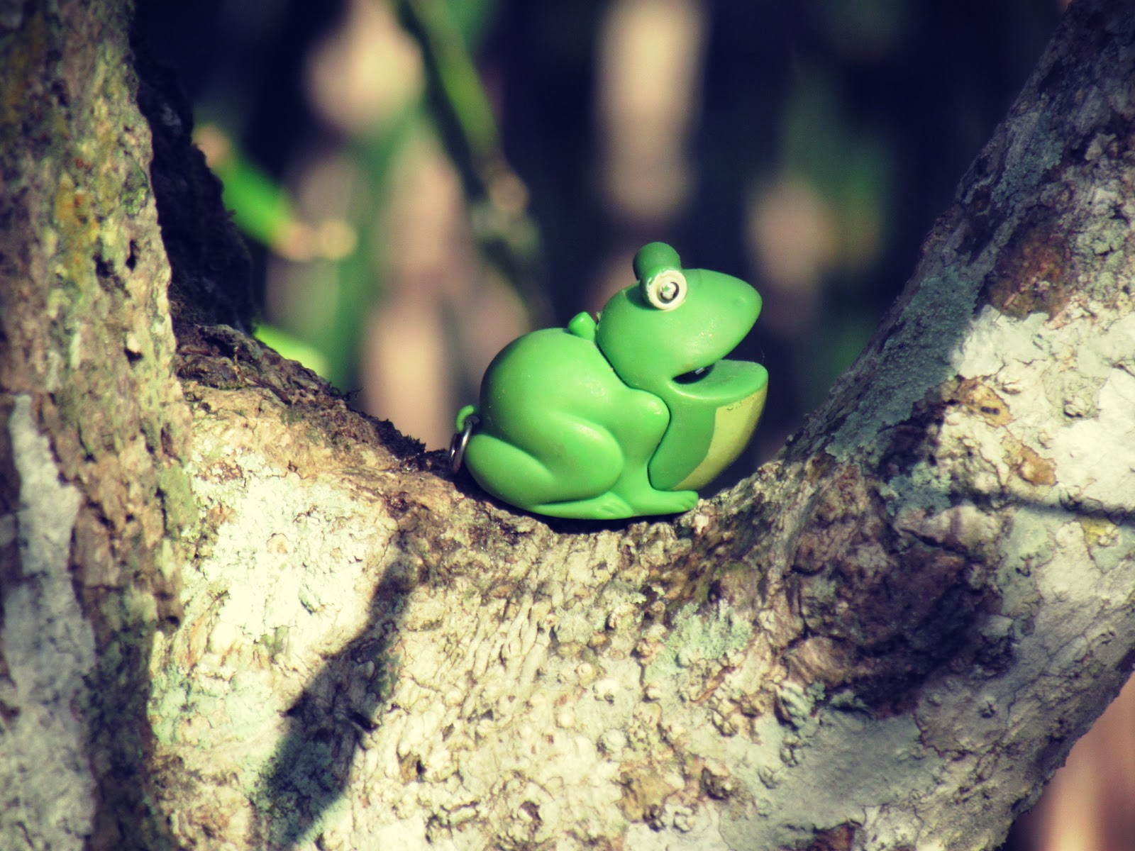 A green toy frog lying in wait in a thick oak tree in Florida with a built-in flashlight
