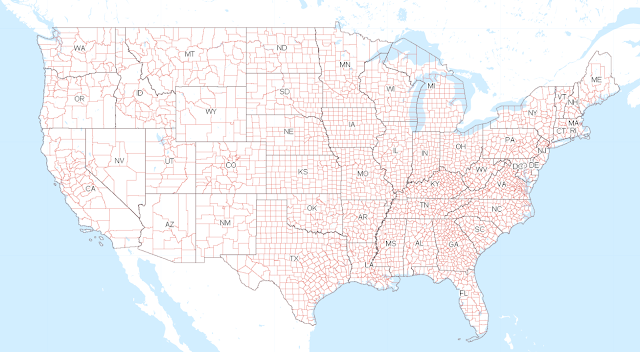 Map of U.S. showing county lines