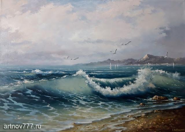 Картина с волной морской на холсте