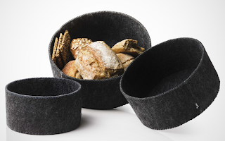 three felt bread baskets, gray