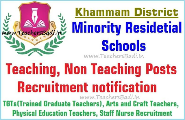 Teaching,Non Teaching posts,Khammam Minority Residential Schools