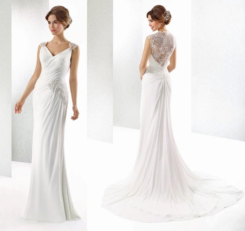 Brautkleid mit schönem Rücken. Hochzeitskleid einem bedeckten Rücken aus Spitze.
