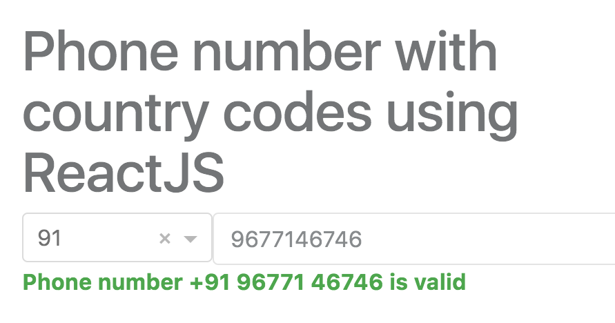 Phone Number With Country Codes Validation Using ReactJS