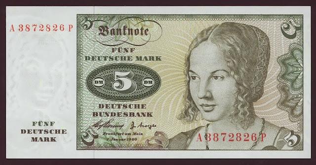 German money currency 5 Deutsche Mark