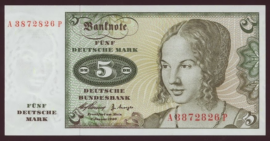 German Currency 5 Deutsche Mark Banknote Of 1960 Venetian Woman By Albrecht D 252 Rer Coins And