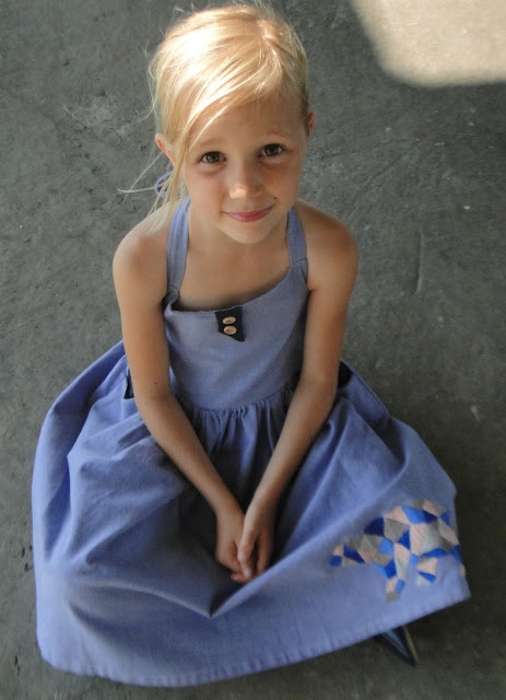 girls halter dress with bear hand embroidery