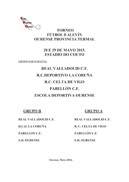 """Torneo Alevín """"Ourense provincia termal"""", horarios y normativa"""