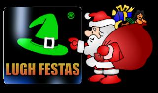 Logo Lugh Festas com Papai Noel