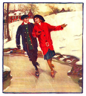 skating winter couple image digital download