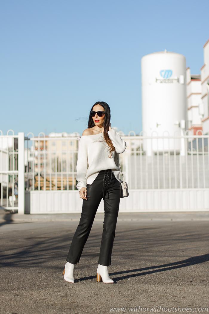 Look con pantalones de piel Revolve LPA y jersey blanco blogger influencer valenciana