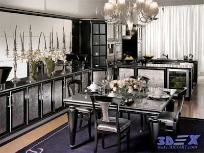 art deco style, art deco interior design, art deco kitchen decor and black furniture