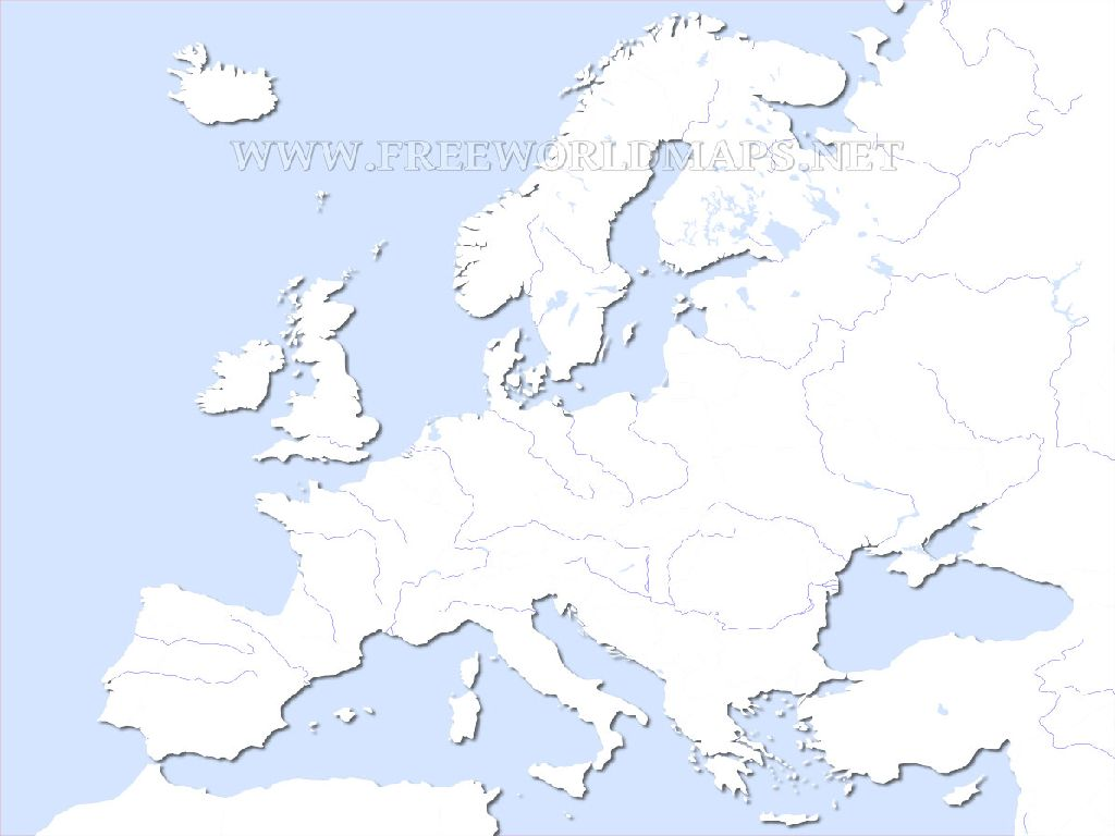 europe physical map blank