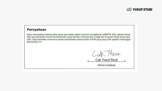 Tanda Tangan Kartu registrasi SNMPTN 2021
