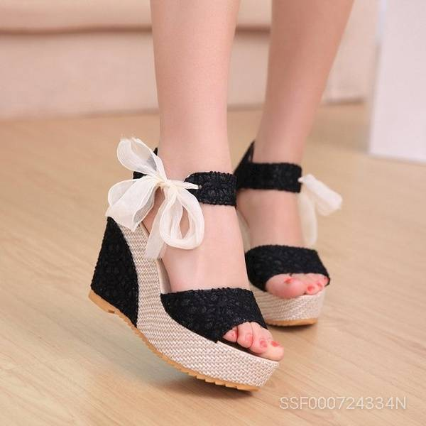 Sweet High Heel Wedge Platform Sandals Bowknot Ankle Shoes