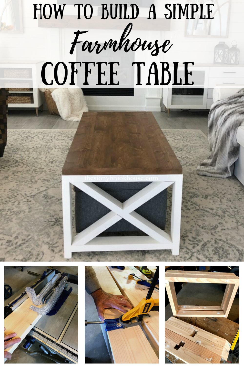 DIY Simple Farmhouse Coffee Table