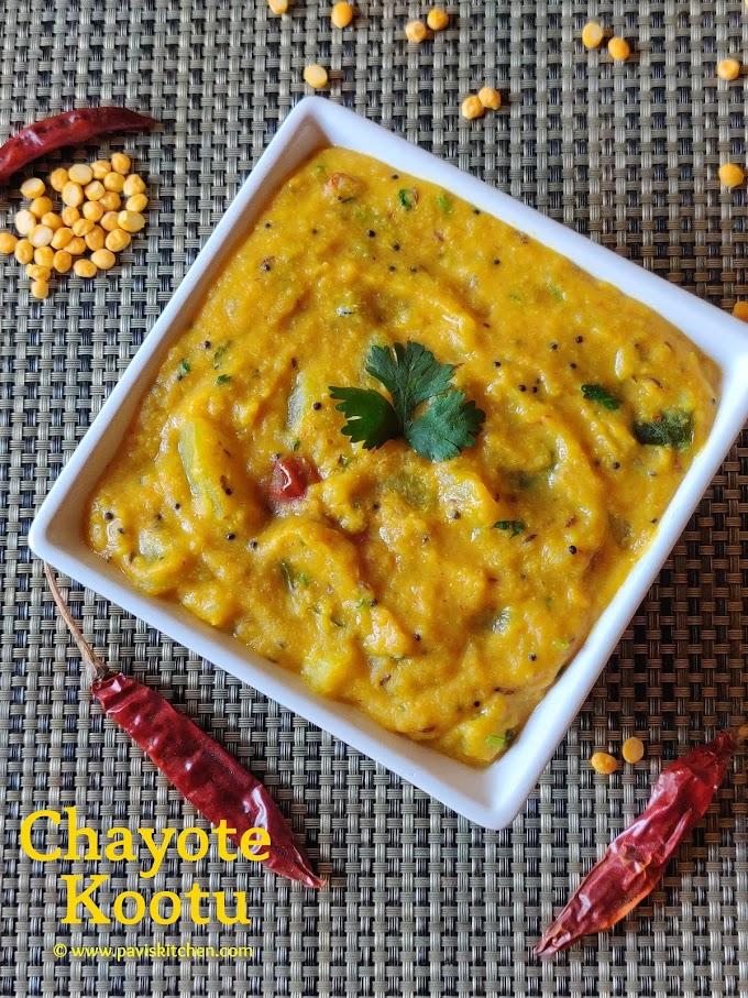 Chow Chow Kootu Recipe   Bangalore Kathrikai Kootu   Chayote Kootu recipe