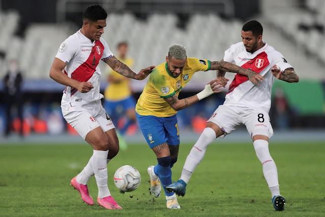 Brazil forward Neymar against Peru - Copa America