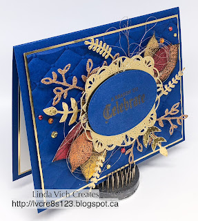 Linda Vich Creates: Roots of Nature 65th Birthday. A Blueberry Bushel matte embossed with the Tufted Embossing Folder serves as a dynamic backdrop for brightly colored leaves from Rooted in Nature on this dramatic birthday card.
