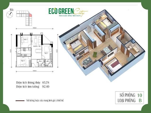 Thiết kế căn hộ 10 tòa CT2 Eco green city