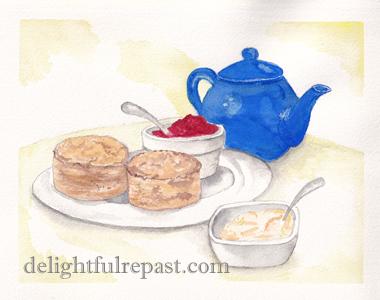 Clotted Cream - A Tutorial (this image, my watercolour version of Paul Clark's A Cornish Cream Tea) / www.delightfulrepast.com