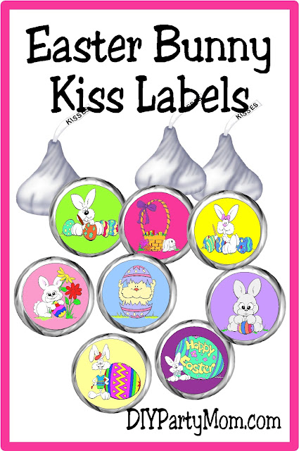 Give some bunny special in your life a cute gift with these Easter Bunny Kiss labels. They are such a fun and easy gift idea for your Easter party or a special friend or loved one.  #easterbunny #easterkisses #printablekisslabel #eastercandy #diypartymomblog
